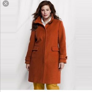 Orange Lands End Cashmere Wool Blend Coat